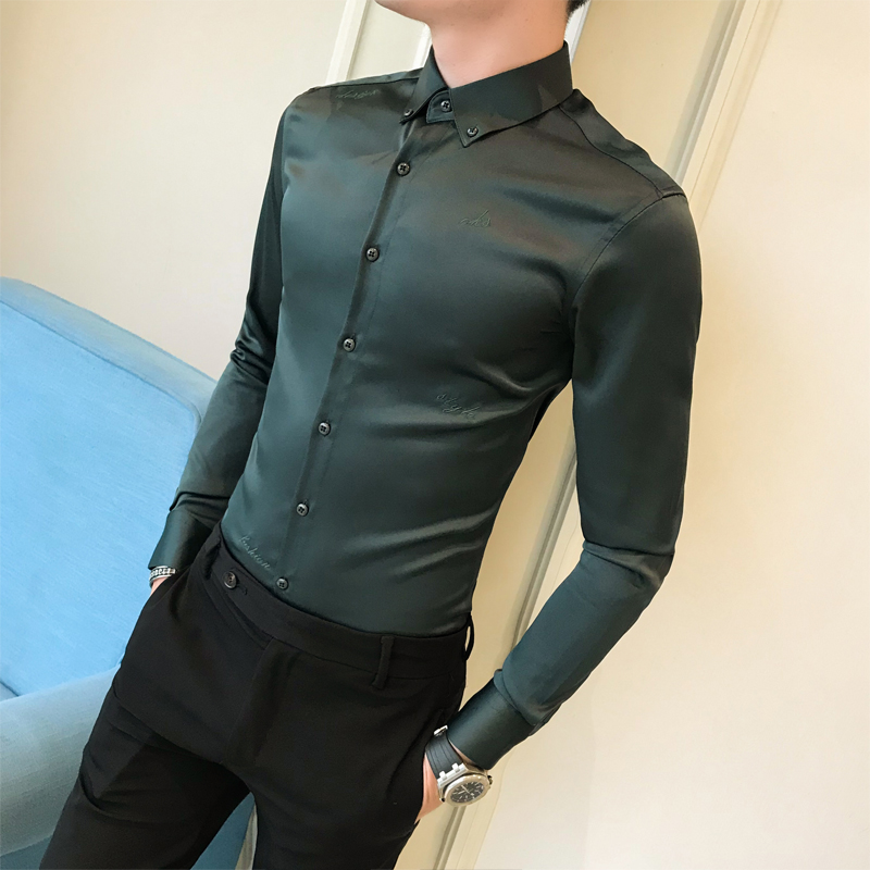 2019 autumn new solid color shirt long sleeve youth men's slim shirt hair stylist groom wedding bottoming shirt