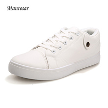 Buy Manresar 2017 Men PU leather Casual Shoes New Comfortable Lace Shoes Fashion Breathable Flat Shoes white black Size 39-44 for $17.96 in AliExpress store