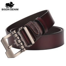 BISON DENIM genuine leather belt for men gift designer belts men's high quality Cowskin Personality buckle,Vintage jeans N71223