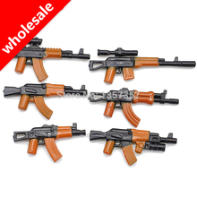Wholesale 6pcs*10set Military Series AK Weapons Bricks Parts Guns For Army City Police SWAT Figures Building Blocks Models Toys