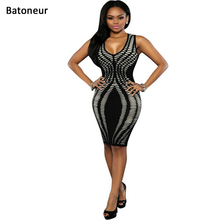Sexy printed bandage dress Summer bodycon for women dresses Sleeveless Party Cub Pencil Vestido(China)