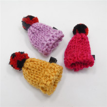 10pcs/lot Winter Handmade Knitted Girls Hat Barrette No Slip Big Hair Clip Red Purple Yellow Red Pink Novelty Hair-bun Hairpin