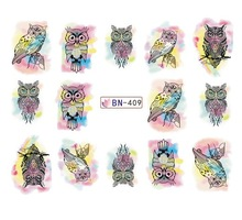 Water sticker for nail art decoration slider dreamcatcher owl watercolor ink design decal manicure lacquer accessoires glue 7(China)