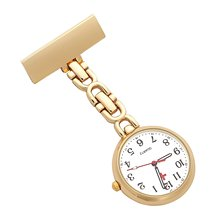 Nurses Lapel Pin Watch 24hr Military Time Analog FOB Infection Control Watch GoldTone Reloj De Bolsillo