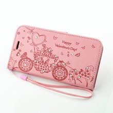 For Microsoft Nokia Lumia N650 Original Cartoon carriage crystal Bling love heart valentine flip lady phone case card slot cheap