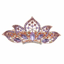 Fashionable Women's Purple Imitation Crystal Lotus Shape Decoration Hair Clip Girl's Banquet Jewelry