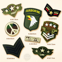 8pcs/lot AIRBORNE US ARMY LHK Cartoon Badges DIY Embroidery Patch Applique Clothes Clothing Sewing Supplies Decorative Patches(China)