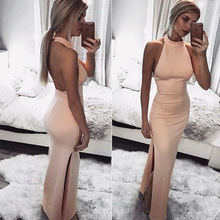 Buy Hot New Summer Dress Sexy Halter Sleeveless Backless Side Slit Long Dress Women Party Dresses Vestidos Pink Black Bodycon Dress