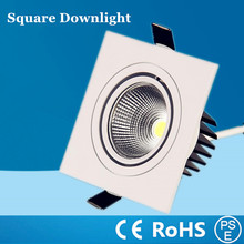 Dimmable white/black/silver shell Square LED spot Light Embedded 7W 9W 12W COB lamp Ceiling Downlight Recessed Aluminum by DHL