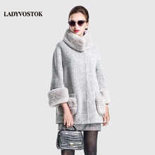 LADYVOSTOK Autumn Winter Fashion Cashmere Coat Women Coat Zipper Fur Three Quarter Length Fur Clothing Casual Clothing SF156(02)(China)