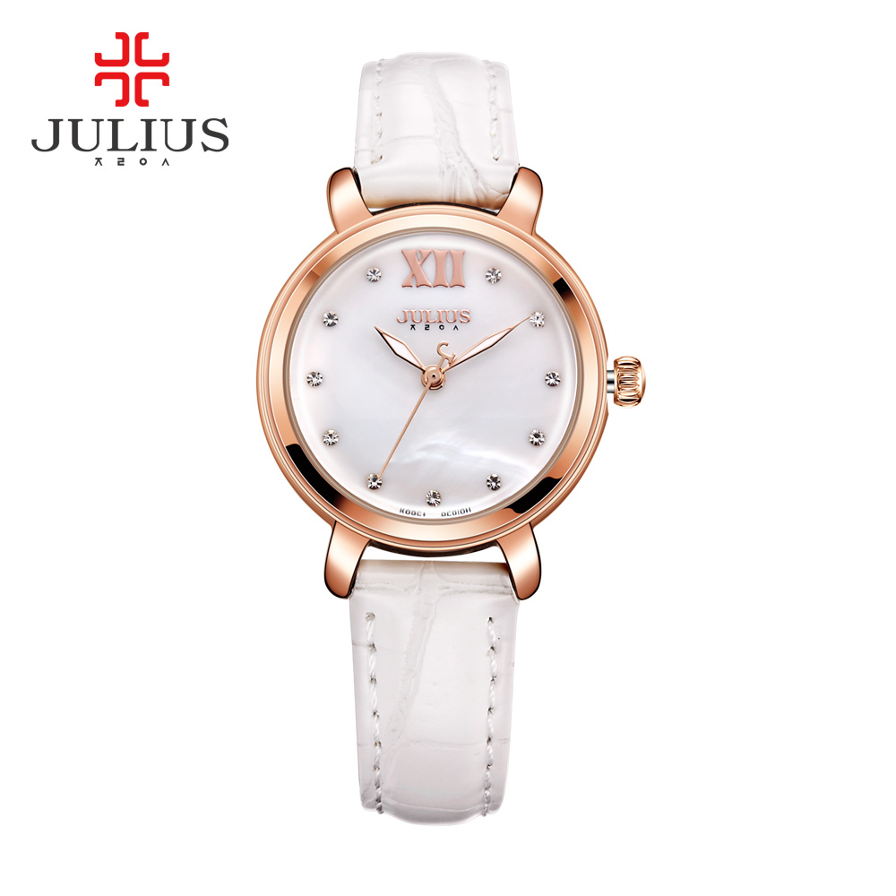 2017 Fashion Brand JULIUS Quart Wristwatches Women Watches Rose Gold RoundRelojes Hombre Leather Dress Simple Reloj Mujer Clock<br>