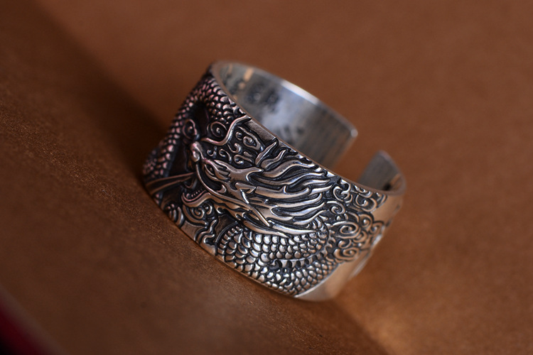 Amazing cool Real 999 Pure Silver Biker Rings With Flying Dragon