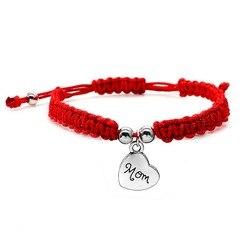 Плетёный красный браслет с металлическим сердечком