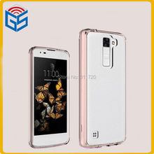 100pcs/lot Free Ship 2 In 1 Crystal Clear Hard Acrylic PC+TPU Case For LG K8 K350 Protective Shell