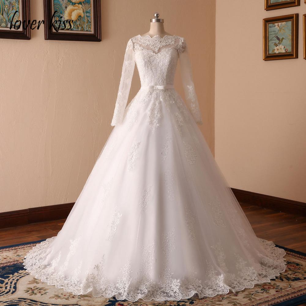 Lover Kiss Vestido De Noiva Custom Sheer Tulle Long Sleeve Wedding Dress Corset Back Lace Ball Gown Bridal Gowns For Weddings 2