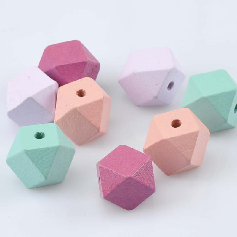 10pcs 20mm Gold And Silver Wooden Cube Unfinished Geometric Beads For Jewelry Making Necklace Diy Teething Jewelry Bead Beads