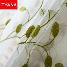 Green Blackout Curtains For Bedroom Blue Tulle Curtains Embroidered Leaves Linen Pink Curtains Drapes For Living Room WP072&2