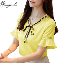 Buy Dingaozlz women clothing chiffon blouse elegant female ruffle lace stitching chiffon shirt 2018 new short sleeve lace tops for $11.13 in AliExpress store