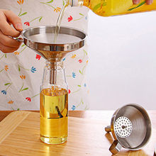 Functional Stainless Steel Kitchen Oil Honey Funnel with Detachable Strainer/Filter for Perfume Liquid Water Tools