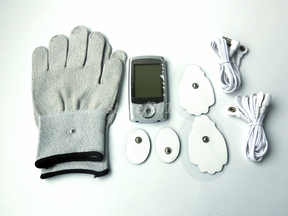 Dual-Channels TENS/EMS Body Health Care Digital Therapy Massager 10Mode Muscle Relaxing+1Pair Electrode Gloves For Pain Relief<br>