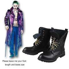 Batman Suicide Squad Joker Cosplay Boots Adult Men Black Boots Pu Leather Halloween Joker Cospaly Shoes Carnival Custom Made(China)