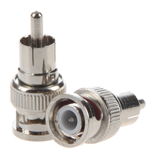 2 Pcs BNC Male to RCA Male RF Coaxial Connector Adapter for CCTV