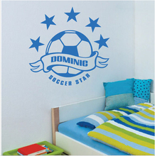 Customzied Name Star Football Soccer Rugby NRL AFL NFL Wall Sticker PVC Vinyl Name Wall Decals Kids Room Stickers SW-04