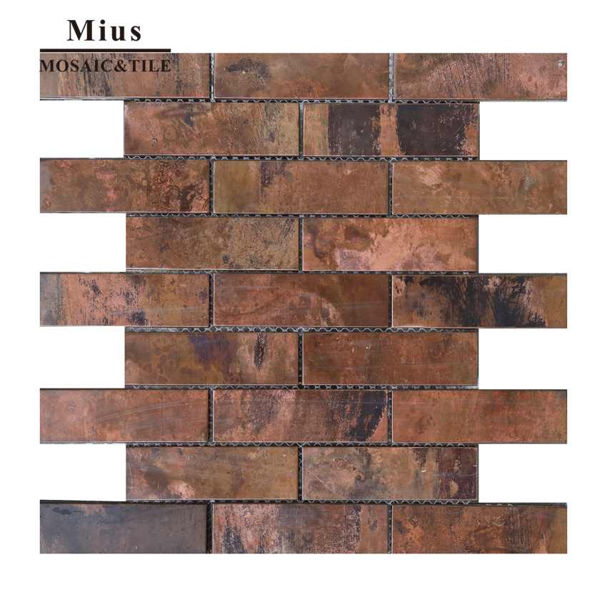 Strip metal tiles copper mosaic tile backsplash  A6YG80<br>