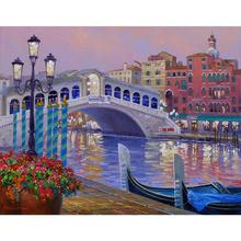 Modern painting abstract Landscape art Memories of Venice Colors contemporary Oil paintings for living room wall decor Handmade(China)