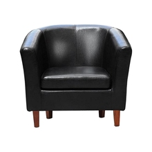 Best Leather Tub Chair Armchair for Dining Living Room Office Reception (Black)