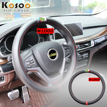 KOSOO 38CM Car Styling Interior Decor Carbon Fiber Steering Wheel Cover Sport Cover For BMW X1 X3 X5 X6 F15 F16 E70 E30 E60  E92