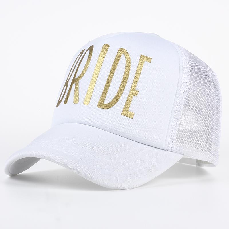 SQUAD BRIDE Party Hat Women Girl Wedding Mesh Baseball Cap Brand Bachelor Club Group Snapback Caps Summer Beach Gold Print Bone 2