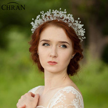 Chran Beautiful!!! Luxury 100% Handmade Tiara Crown Bridal Wedding Headband Headpiece Evening Prom Hair Comb Jewelry HCJ609(China)