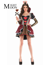 MOONIGHT Women's Alice In Wonderland Costume Red Queen of Hearts Costume Fancy Dress for Women Halloween Party Cosplay Costumes(China)