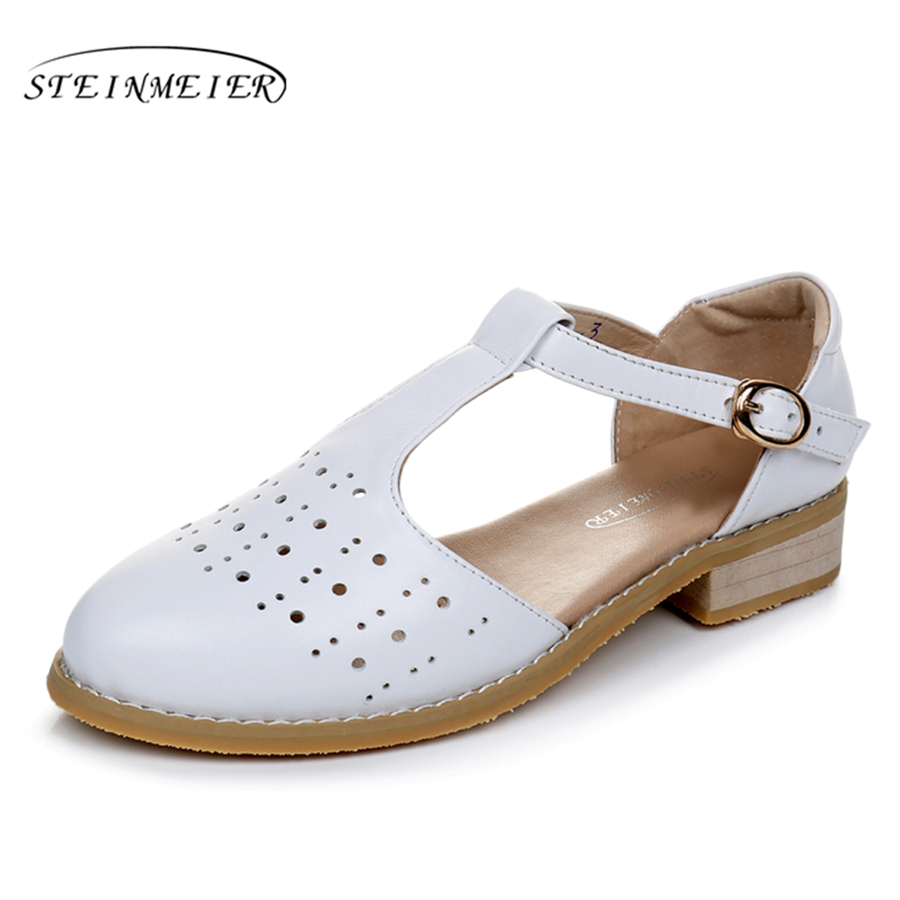 Cow leather woman US size 11 designer vintage handmade beige white 2017 sping summer oxford shoes for women Sandals shoes<br>