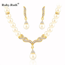Jewelry Sets For Women Wedding Bridal Dress Accessories Water  Crystal Necklace Earrings Gold Color African Beads Set 2017