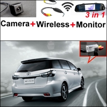For TOYOTA Wish 3 in1 Special Rear View Camera + Wireless Receiver + Mirror Monitor DIY Backup Parking System(China)