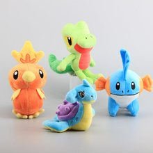 High Quality 4 Pcs/Set  Figures Pikachu Lapras Torchic  Treecko Stuffed Dolls Mudkip Plush Toys 14-20 CM