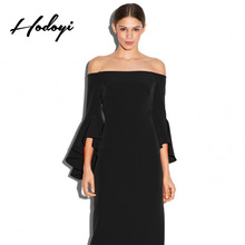 Hodoyi Apparel Sexy Backless Midi Dress Women Solid Black Off Shoulder Ruffle Sleeve Dress Vestidos Elegant Shaping Female Dress