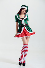 Elf Green Wizard Santa Costume Green Christmas Tree Costumes for women hat +belt+dress sexy ms santa claus fancy costume