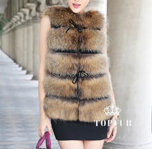 Free Shipping 2017 New Arrival Luxury Real Natural Genuine Fox Fur Vest TFP438 for Women Fashion Brand Fur Vest
