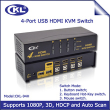 USB HDMI KVM Switch 4 Port, PC Monitor Keyboard Mouse Switcher Support Hotkey Mouse Auto Scan Switching 1080P 3D CKL-94H