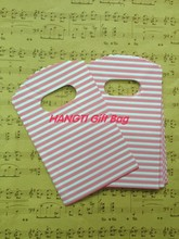 On Slae Gift Bag ! White Plastic Gift Bags,9X15cm Pink Stripe Printed Jewelry Gift Packaging Bags 100pcs/lot Free Shipping