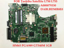 High quality brand new laptop motherboard for Toshiba Satellite L750 L755 A000079330 DABLBDMB8E0 HM65 PGA989 GT540M 1GB Tested