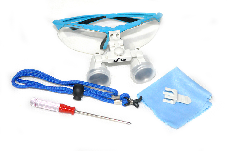 100% New Dentist Dental Surgical Medical Binocular Loupes 3.5X 320mm Optical Glass Loupe +Case<br>