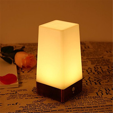 New Design Warm White Night Light Battery Operated Table Lamp Night Light with Motion Sensor (Square) [Energy Class A+] for Deco