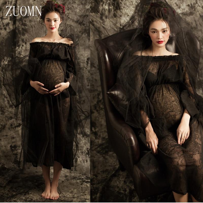 Pregnant Woman Black Dress Pregnancy Photo Shoot Beach Dress Maternity Long Dress Pregnant Photography Props Fancy Clothes YL423<br><br>Aliexpress