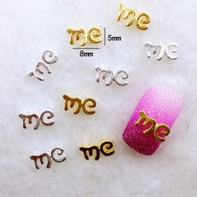 "10Pcs/Lot 5*8mm Gold and Silver Letter ""me""  Metal Alloy Nail Art Decorations 3D DIY Nail Stickers Jewelry Nail Charms"