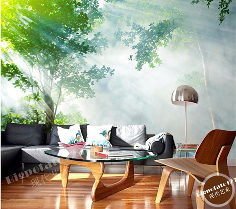 Custom 3D large mural,green forest landscape photography under the sun exposure,living room TV wall bedroom wallpaper<br>
