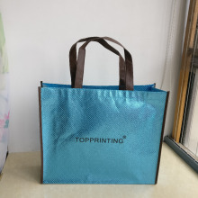 wholesale 500pcs/lot 30Hx40x10cm custom pp laser lamination non woven shopping bags with ads on trading show(China)